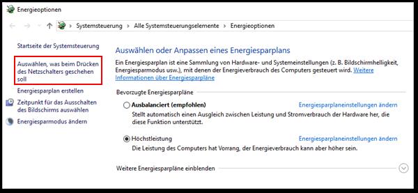 energieoptionen windows 10